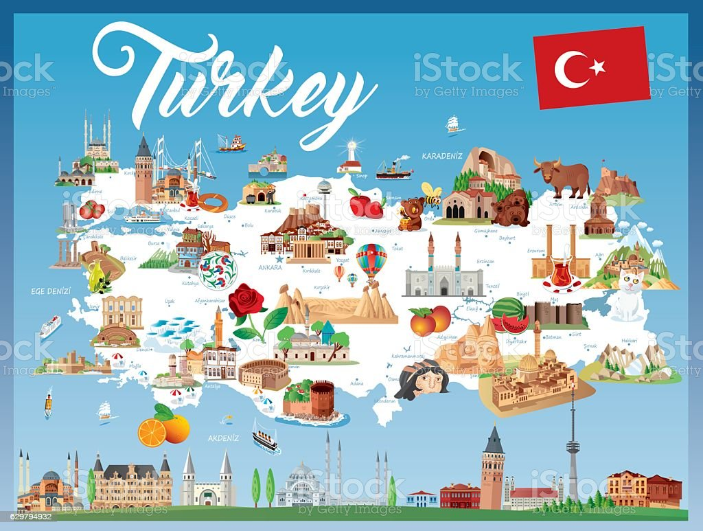 Cartoon Map Of Turkey Stock Vector Art More Images of Abstract