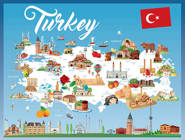 stockillustraties, clipart, cartoons en iconen met cartoon map of turkey - erzurum
