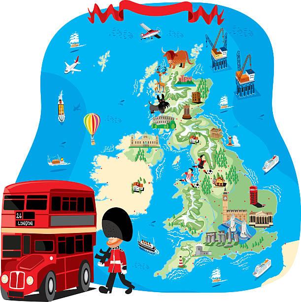 カットイラスト、マップの英国 - アイルランドの国旗点のイラスト素材/クリップアート素材/マンガ素材/アイコン素材
