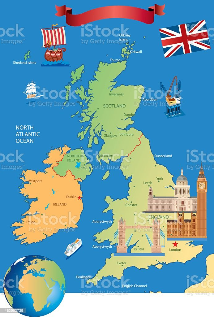 Cartoon Karte Von Großbritannien Stock Vektor Art und mehr Bilder ...