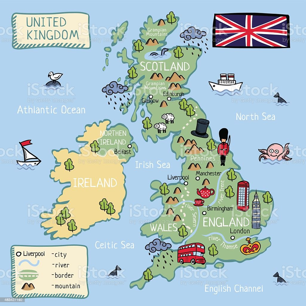 Cartoon map of United Kingdom. all objects isolated. vector art illustration