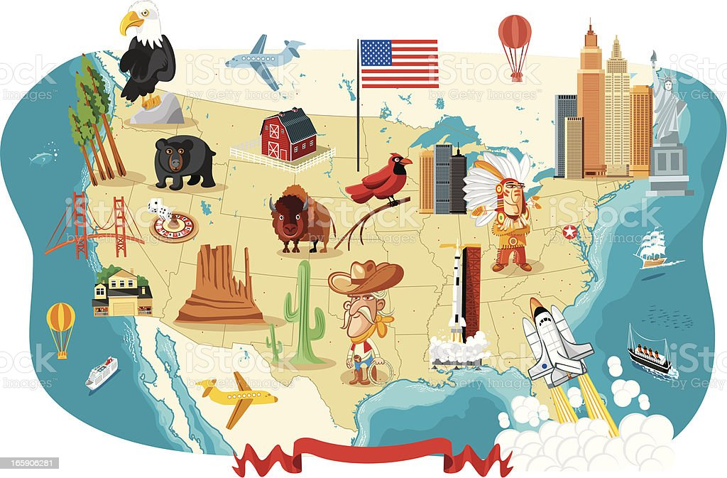Cartoon map of USA vector art illustration