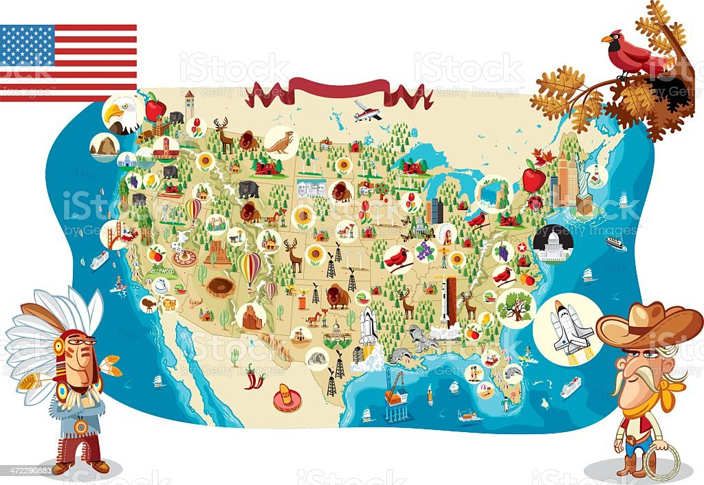 Cartoon Map Of Usa Stock Vector Art More Images Of Alabama Us