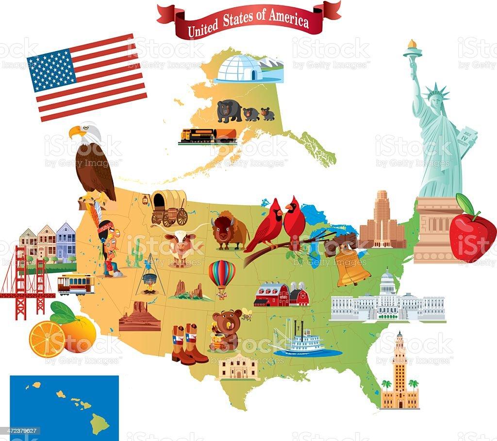 Cartoon Map Of Usa Stock Vector Art IStock - Usa map cartoon