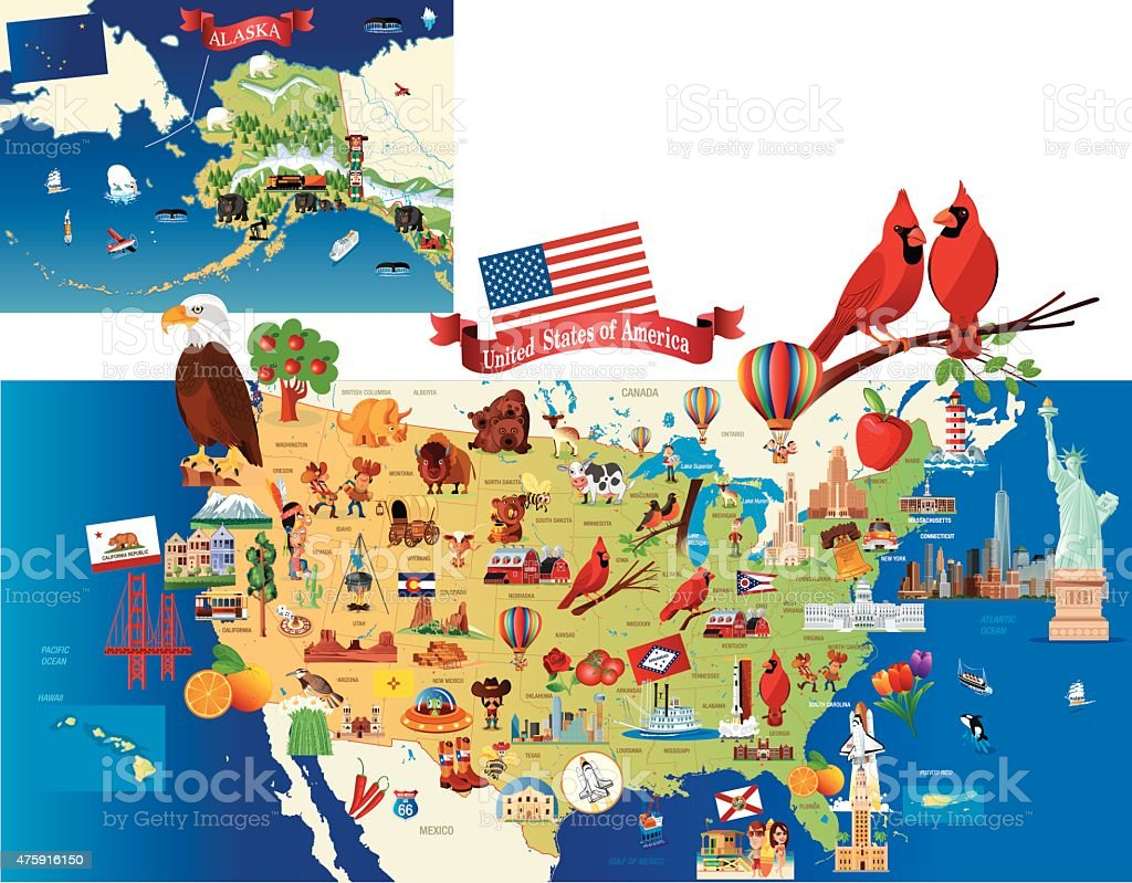 Cartoon Map Of Usa on
