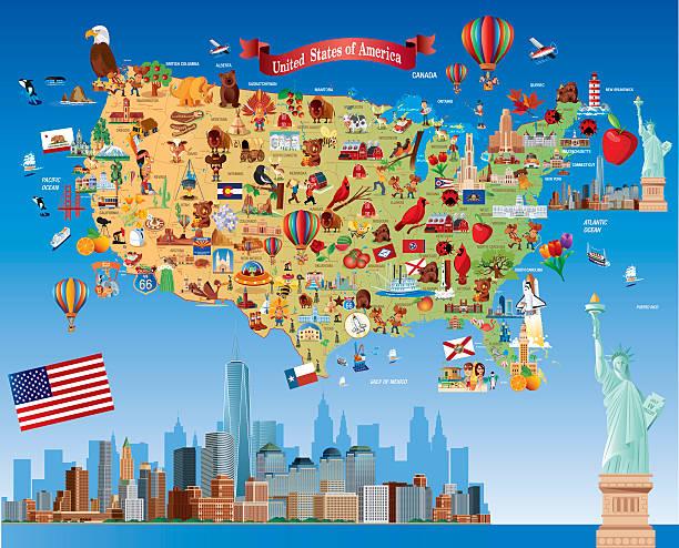 カットイラスト、map of USA ベクターアートイラスト