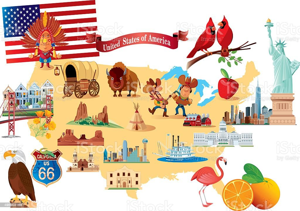 Cartoon Map Of Usa Stock Vector Art More Images Of 2015 495903188