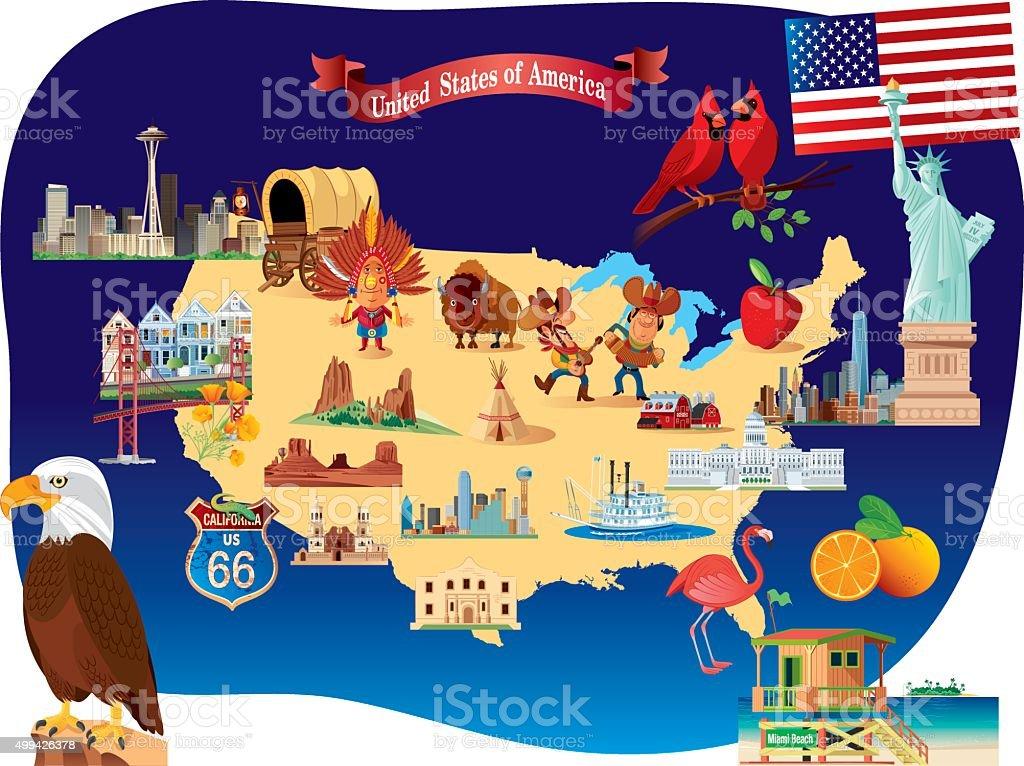 Cartoon Map Of Usa Stock Vector Art IStock - Cartoon us map