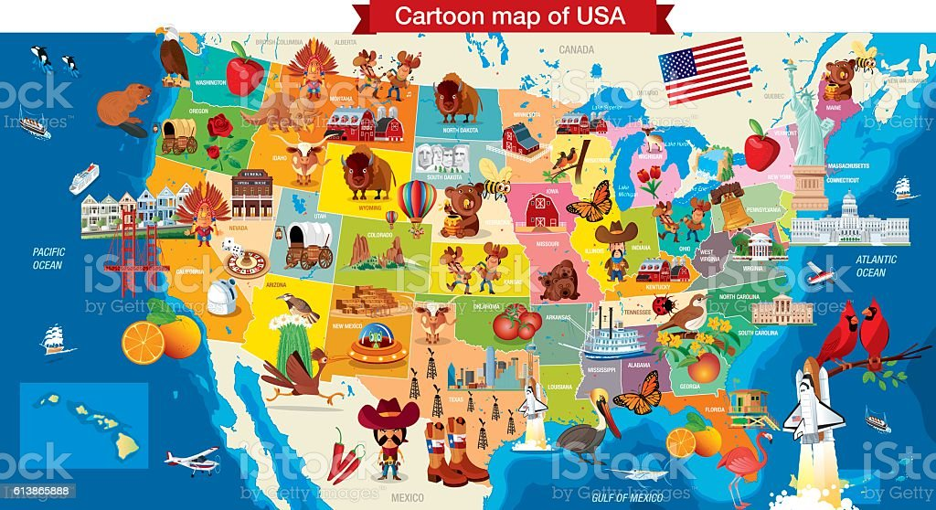 Cartoon Map Of Usa Stock Vector Art More Images Of Alabama Us - Cartoon-map-of-the-us