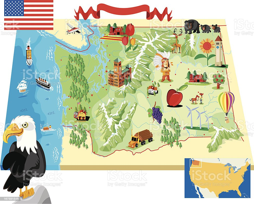 Cartoon Map Of Washington State Stock Vector Art IStock - Washington st map