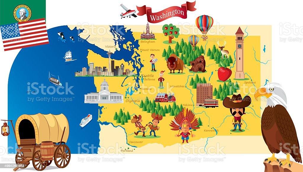 Cartoon map of Washington vector art illustration