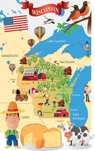cartoon map of wisconsin - lake superior stock illustrations, clip art, cartoons, & icons