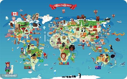 istock Cartoon map of World 1160046487