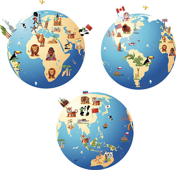 カットイラスト、地図の世界 - アジア旅行点のイラスト素材/クリップアート素材/マンガ素材/アイコン素材