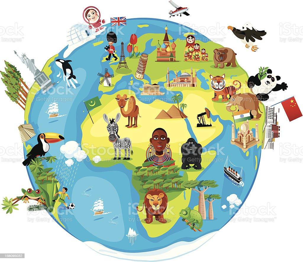 Cartoon Karte der Welt – Vektorgrafik