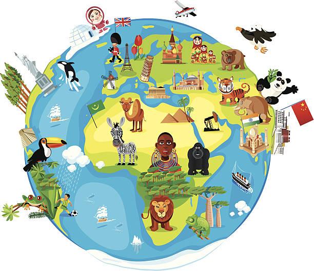 ilustraciones, imágenes clip art, dibujos animados e iconos de stock de dibujo mapa del mundo - viaje a áfrica
