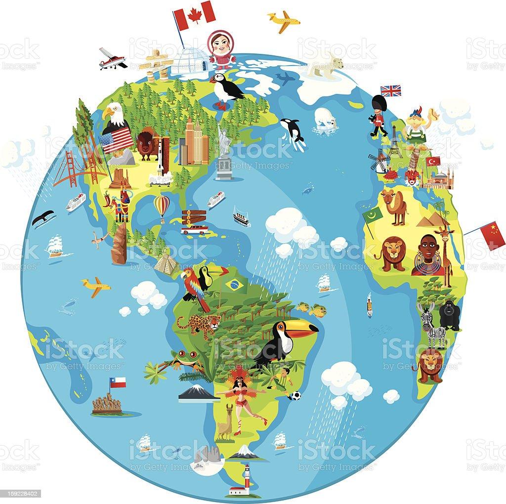 cartoon map of world america royalty free cartoon map of world stock vector