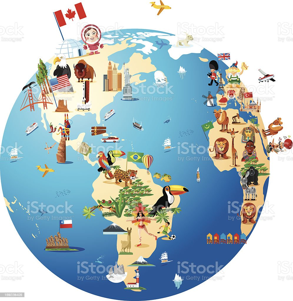 Cartoon map of world stock vector art more images of africa cartoon map of world royalty free cartoon map of world stock vector art amp gumiabroncs Image collections