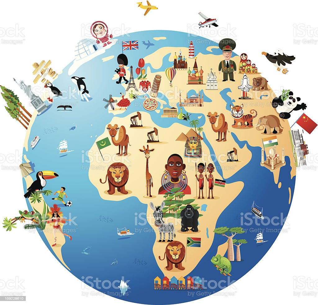 Cartoon map of world stock vector art more images of africa cartoon map of world royalty free cartoon map of world stock vector art amp gumiabroncs Images