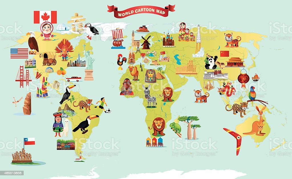 Cartoon map of world stock vector art more images of 2015 cartoon map of world royalty free cartoon map of world stock vector art amp gumiabroncs Choice Image