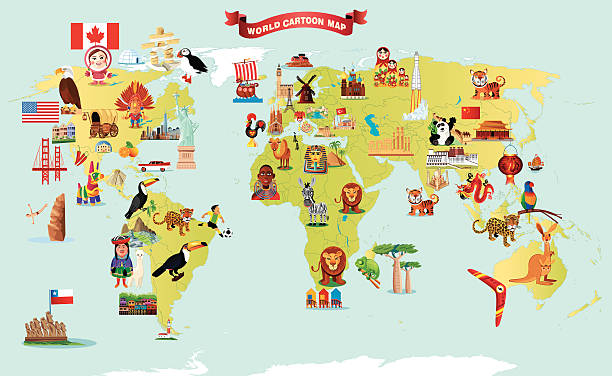 ilustrações, clipart, desenhos animados e ícones de desenho mapa do mundo - viagem à américa do sul