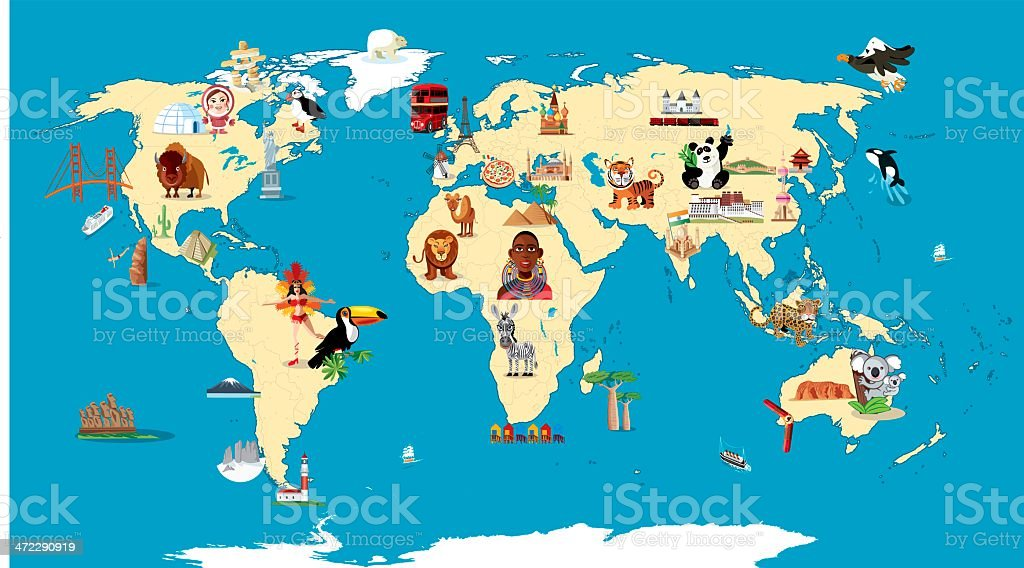 Cartoon map of World royalty-free cartoon map of world stock vector art & more images of africa