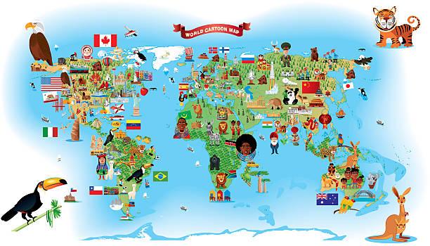 ilustraciones, imágenes clip art, dibujos animados e iconos de stock de dibujo mapa del mundo - viaje a sudamérica