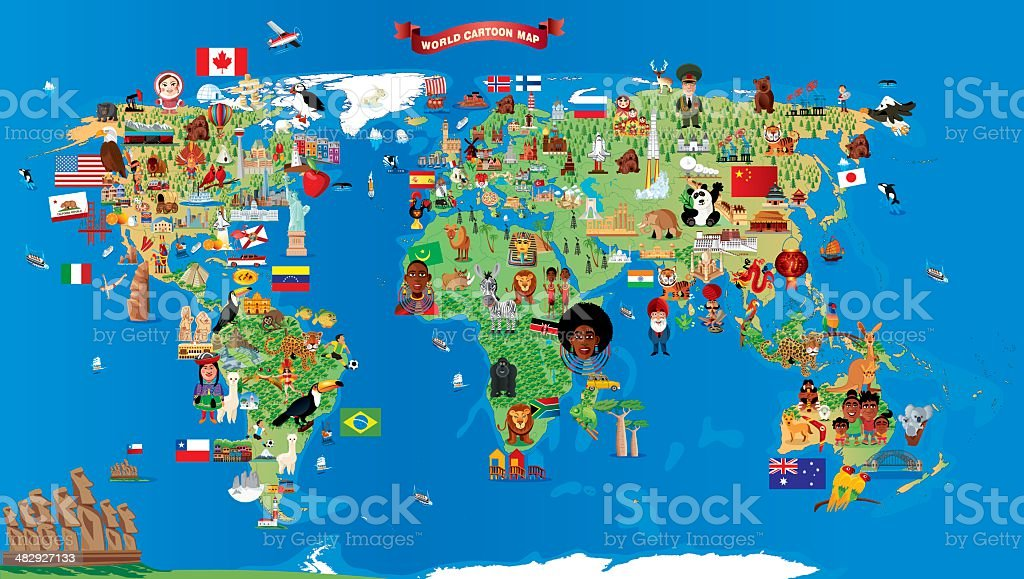 Cartoon map of world stock vector art more images of africa cartoon map of world royalty free cartoon map of world stock vector art amp gumiabroncs Choice Image