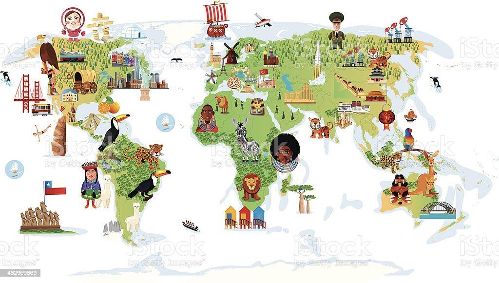 Desenho Mapa do mundo - ilustração de arte em vetor