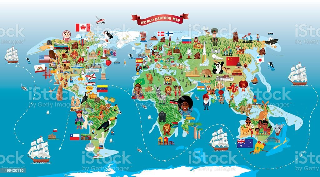 Cartoon map of World vector art illustration