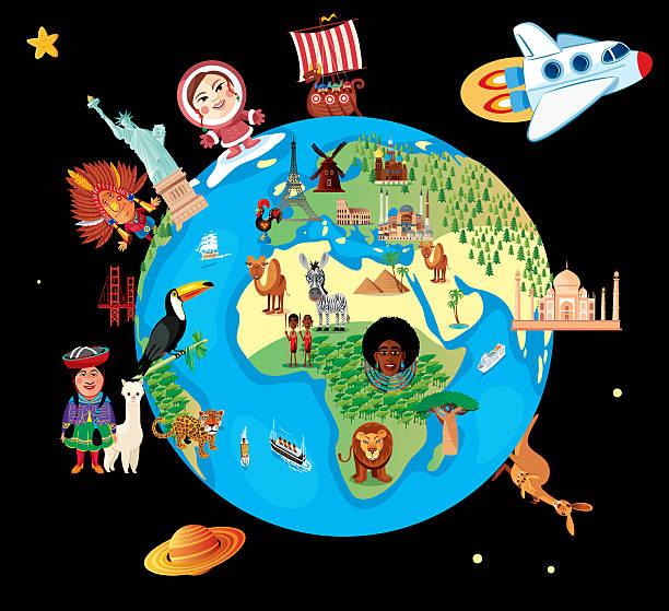 カットイラスト、地図の世界 ベクターアートイラスト