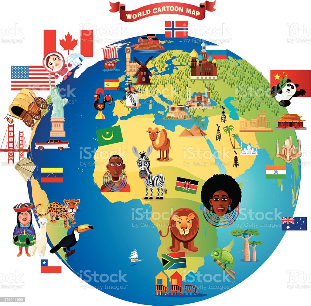 Cartoon Map Of World Stock Vector Art More Images Of Africa