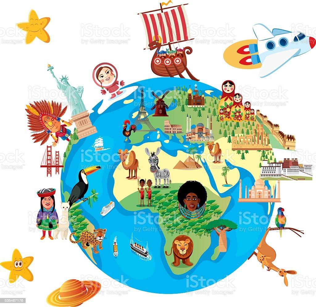 Dibujo mapa del mundo - ilustración de arte vectorial
