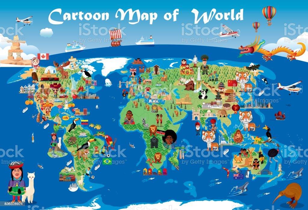 Mapa de dibujos animados del mundo - ilustración de arte vectorial