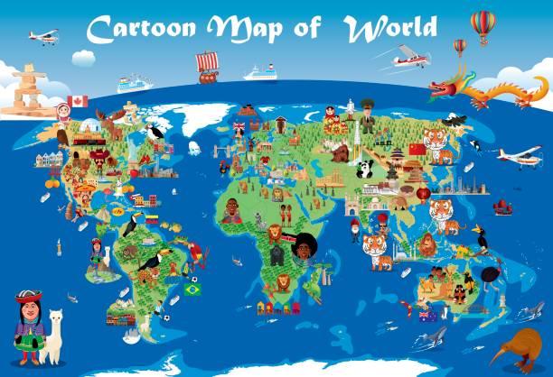 ilustraciones, imágenes clip art, dibujos animados e iconos de stock de mapa de dibujos animados del mundo - viaje a sudamérica
