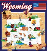 Cartoon Map of Wyoming