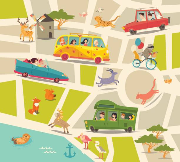 Cartoon map vector. Abstract street map vector art illustration
