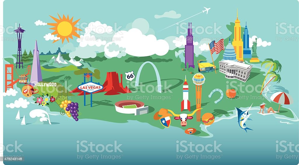 USA Cartoon Map vector art illustration