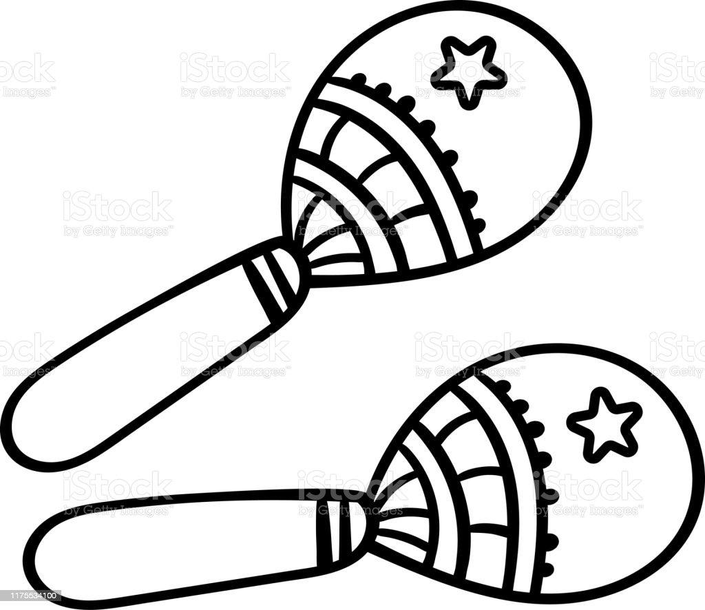 Ilustración De Caricatura Maracas Sobre Fondo Blanco Página Para Colorear Adultos Y Niños Instrumento Musical Maracas De México Ilustración Vectorial