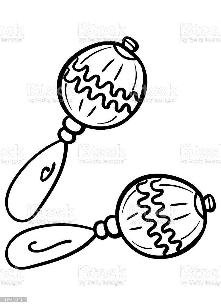 Karikatur Maracas Beyaz Arka Plan Uzerinde Boyama Sayfasi Yetiskin