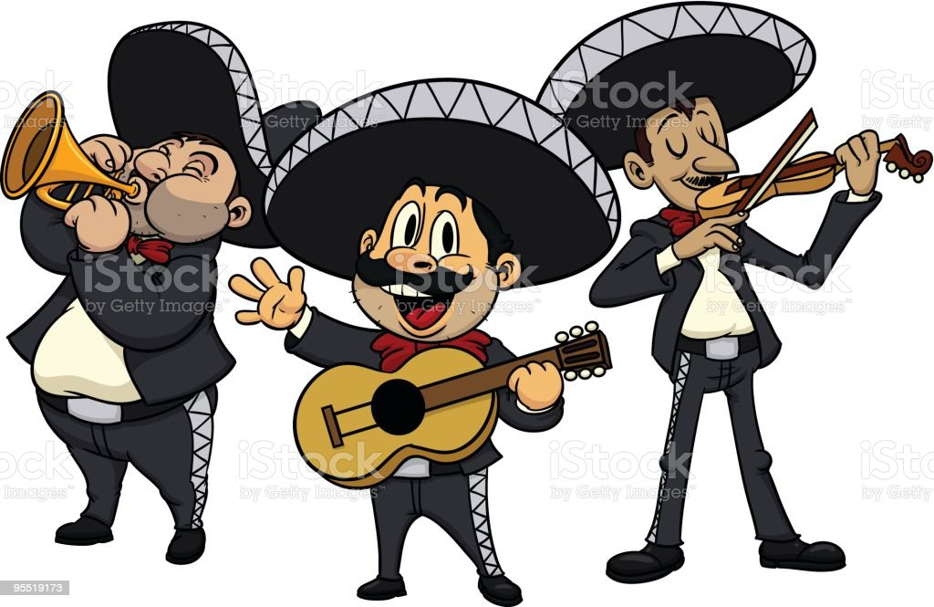 Cartoon mariachis royalty-free stock vector art