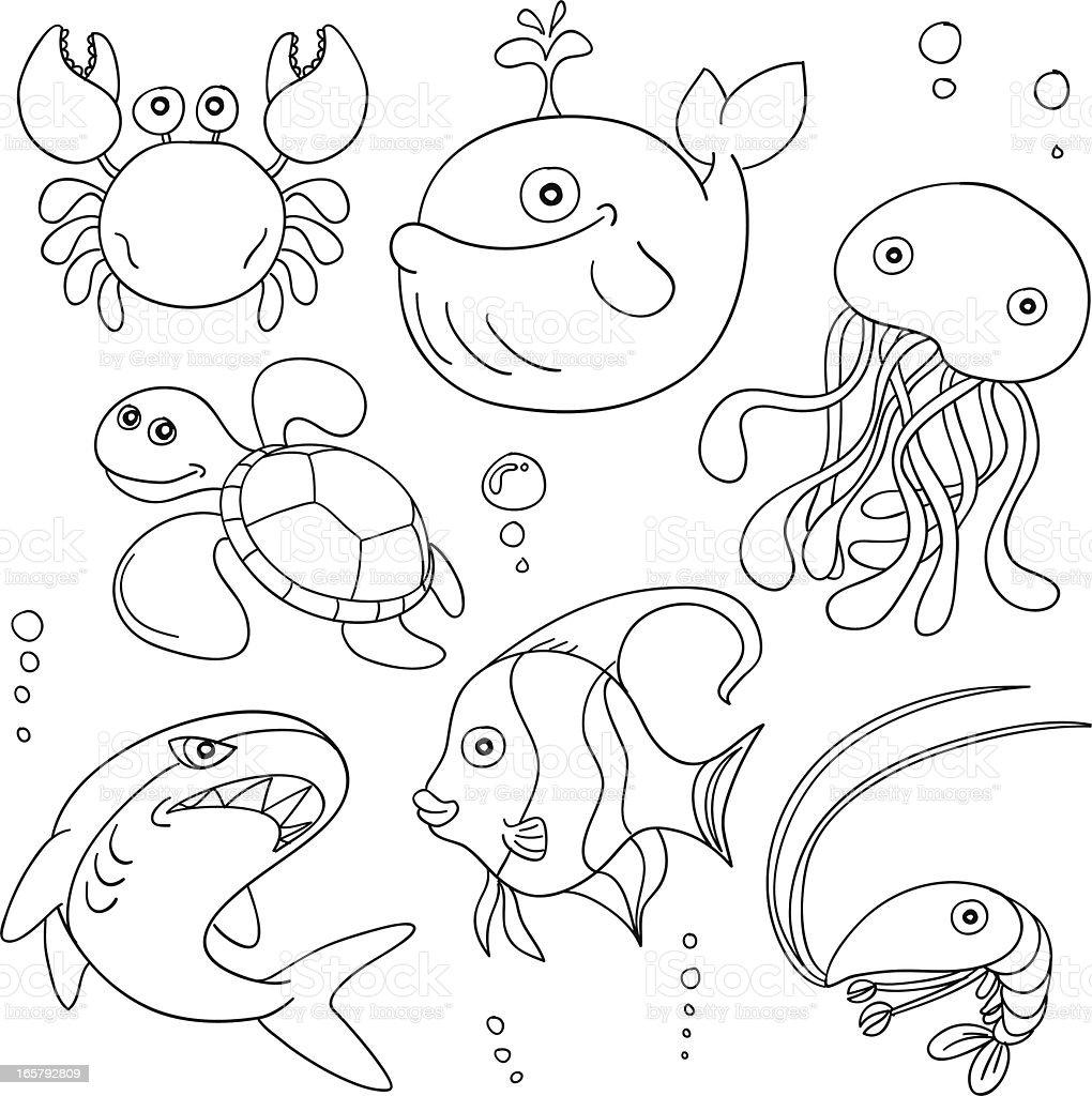 Dessin anim animaux marins en noir et blanc vecteurs libres de droits et plus d 39 images de - Dessin d animaux marins ...