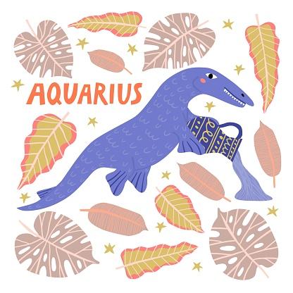 Cartoon marine reptile aquarius zodiac sign