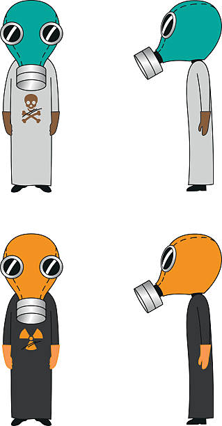 cartoon mask - cartoon of a hazmat suit stock illustrations, clip art, cartoons, & icons