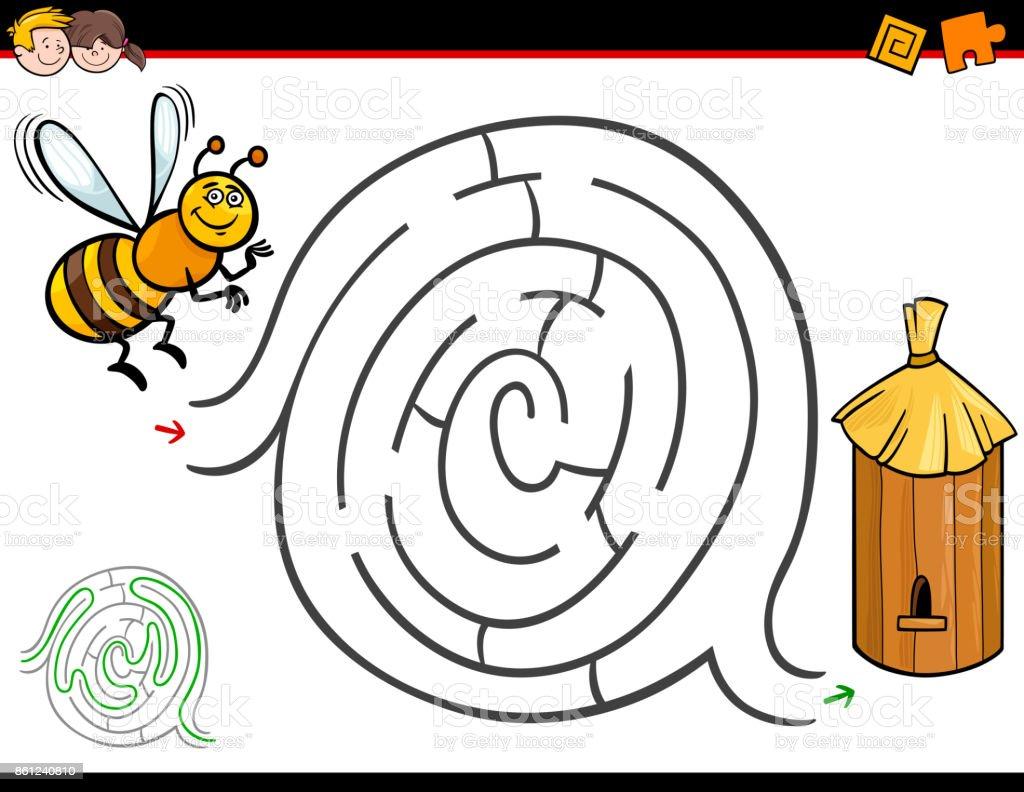 Actividad De Laberinto De Dibujos Animados Con La Abeja Y La Colmena ...