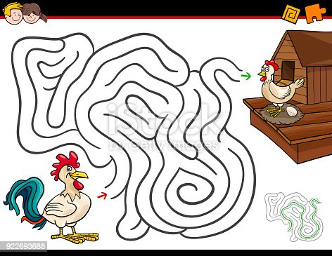 Cartoon Illustration of Education Maze or Labyrinth Activity Game for Children with Chickens and Chickencoop