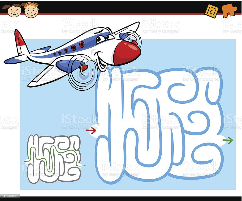 cartoon maze or labyrinth game royalty-free cartoon maze or labyrinth game stock vector art & more images of airplane