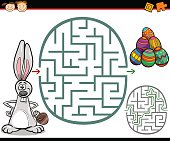 Cartoon Illustration of Education Maze or Labyrinth Game for Preschool Children with Easter Themes