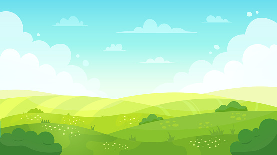 Cartoon meadow landscape. Summer green fields view, spring lawn hill and blue sky, green grass fields landscape vector background illustration. Field grass, meadow landscape spring or summer