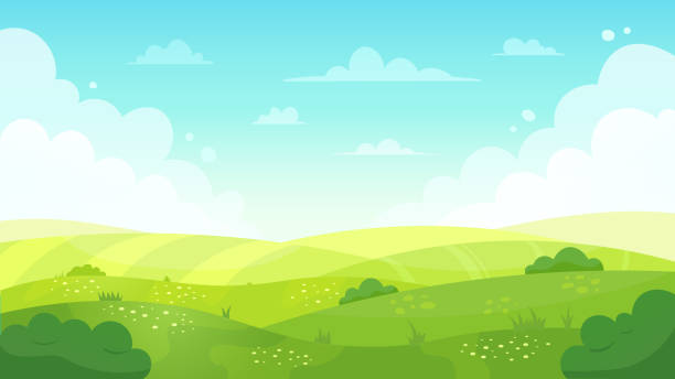 Cartoon meadow landscape. Summer green fields view, spring lawn hill and blue sky, green grass fields landscape vector background illustration Cartoon meadow landscape. Summer green fields view, spring lawn hill and blue sky, green grass fields landscape vector background illustration. Field grass, meadow landscape spring or summer landscapes stock illustrations